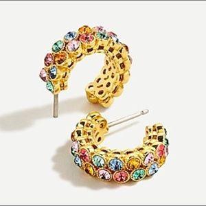 NWT J Crew Multi-Color Crystal Bezel Hoop Earrings